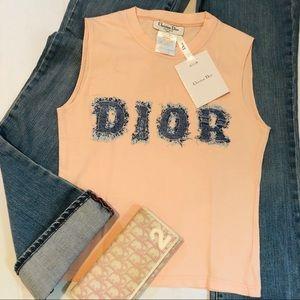 DIOR Denim Blue Jean Dior Print Peach Tank Top